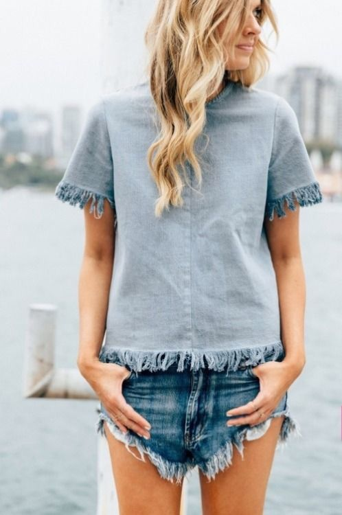 Cutoff denim.