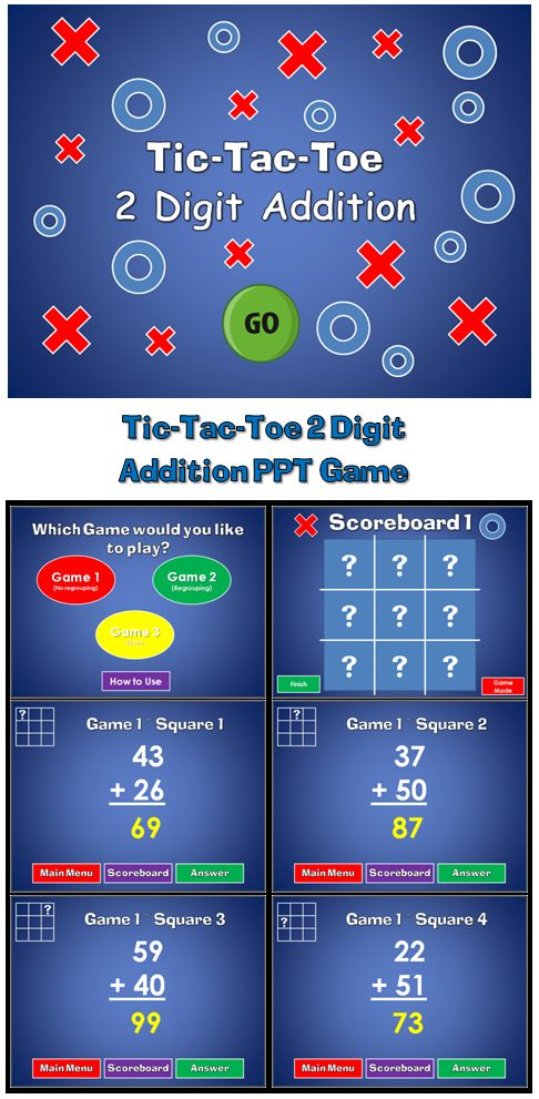 Practice adding 2 digit numbers with the fun Tic-Tac-Tow powerpoint game. This game has 3 game modes (more bang for your buck) that includes 2 digit addition with no regrouping, 2 digit addition with regrouping, and a mixed of the two. This gives you 27 questions in all! Great for a guided math center or rainy day activity.