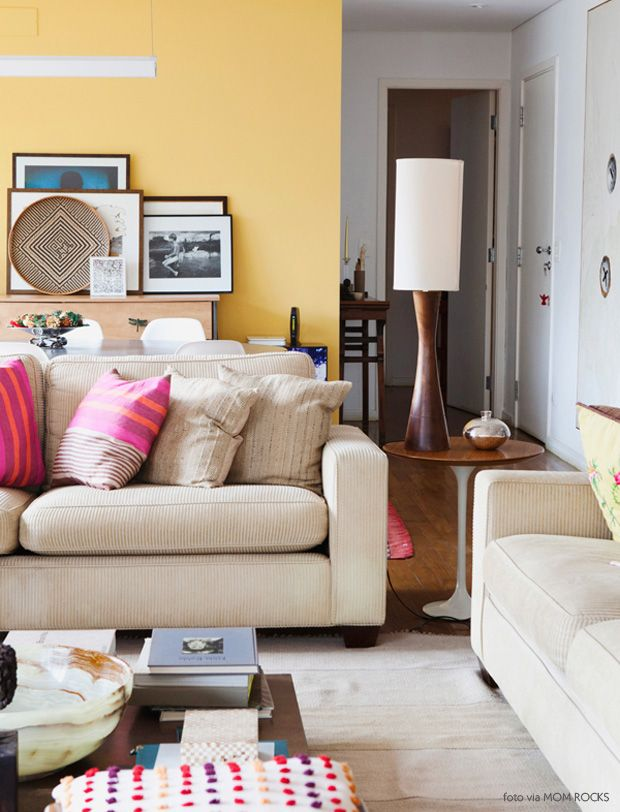 Pale Yellow Wall + Pink Accents #decor #amarelo #salasdeestar Part 71