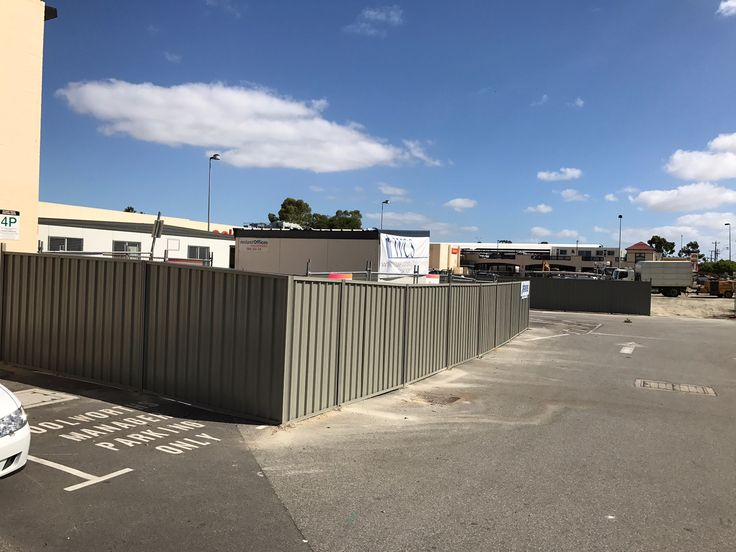 Commercial fence in Perth 2017 - Colorbond fencing installed to close off parking area.