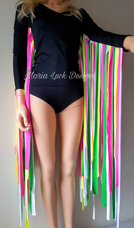 BLACK LEOTARD WITH NEON FRINGE Made of black and neon spandex fabric Looks so bright and glows in UV and club lights