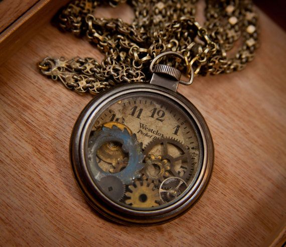 Buy Now Steampunk Jewelry, Pocket Watch, Vintage, Westclock, Gears, Clock, Steampunk Necklace, Pendant, Steampunk Pocket Watch by SheriffofSteampunk 59.68