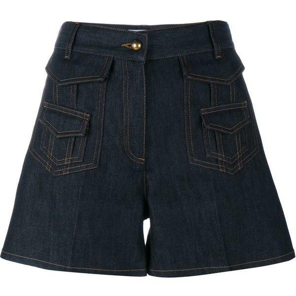 Valentino denim shorts (6.160.820 IDR) ❤ liked on Polyvore featuring shorts, blue, military shorts, denim short shorts, jean shorts, short jean shorts and blue denim shorts