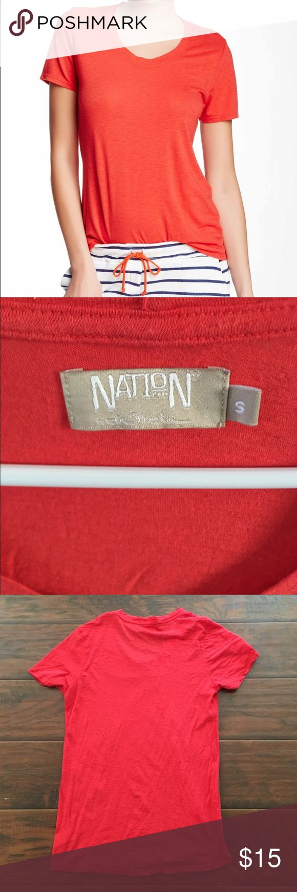 Nation Ltd red short sleeve top In excellent condition! Super cute and soft!! Thanks for looking.💕 Nation Ltd Tops Tees - Short Sleeve