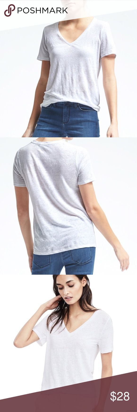 NWT Banana Republic Short-Sleeve Linen V tshirt NWT Banana Republic signature tees are fashioned from super soft, lightweight fabrics for a flattering drape. Wear alone or mix, match and layer. V-neck. Short sleeves. Straight hem. 100% line hand wash Banana Republic Tops Tees - Short Sleeve