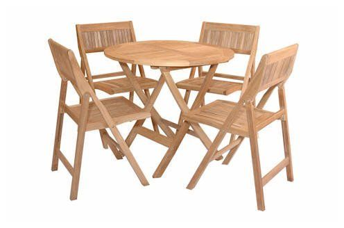"TEAK BISTRO FOLDING PATIO SET w/ 4 Chairs by Anderson Collections. $1299.00. One Teak 31"" Round Table. Four Teak Windsor Folding Chairs. Mortise and tenon joinery with solid teakwood dowels. Full one year manufacturers warranty. Marine grade brass and stainless steel fittings. Anderson furniture designs are made by hand from the finest quality materials using only traditional carpentry techniques. By concentrating on these fundamental basics Anderson produces hi..."