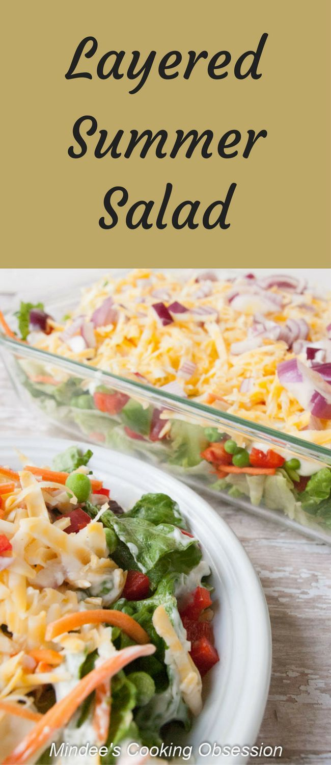 Layered Summer Salad- a make ahead, potluck salad packed full of a variety of vegetables with dressing included. via @https://www.pinterest.com/mindeescooking/