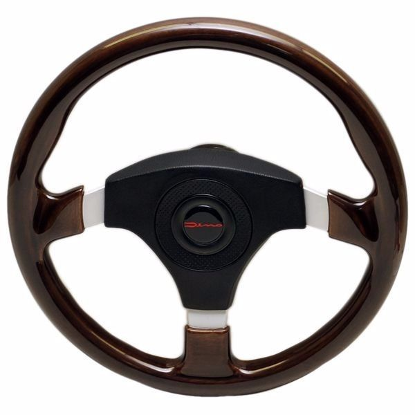 DINO 13 3/4 INCH 3 SPOKE CHERRY WOOD GRAIN / ALUMINUM BOAT STEERING WHEEL