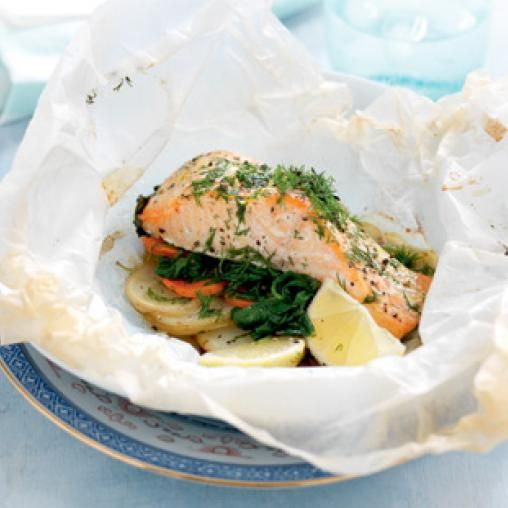 Salmon, spinach and potato parcel