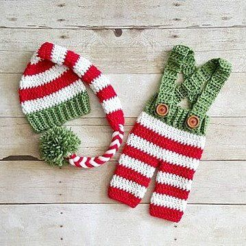 Crochet Baby Striped Christmas Hat Beanie Stocking Cap Pants Overalls Set Red…