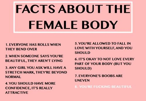 Facts about human bodies---they are all perfectly made. Love what you have. All of it.