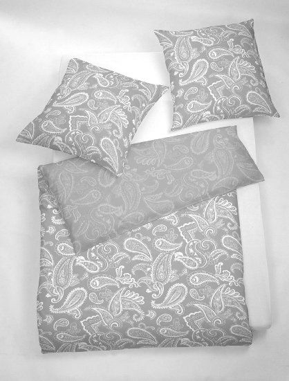 3 tlg. etérea Microfaser Bettwäsche Paisley Life Grau Anthrazit Silber, 200x220 cm + 2x 80x80 cm