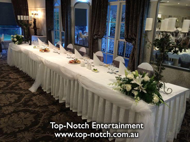 Bridal table setting at Ballara Receptions, Eltham, Victoria.  www.top-notch.com.au  www.facebook.com/WeddingDJTopNotch