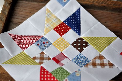 scrappy stars quilt block idea. like the extra squares in the corners