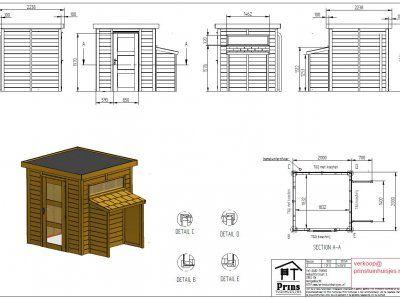 Tekeningen tuinhuis met platdak | Prins Tuinhuisjes