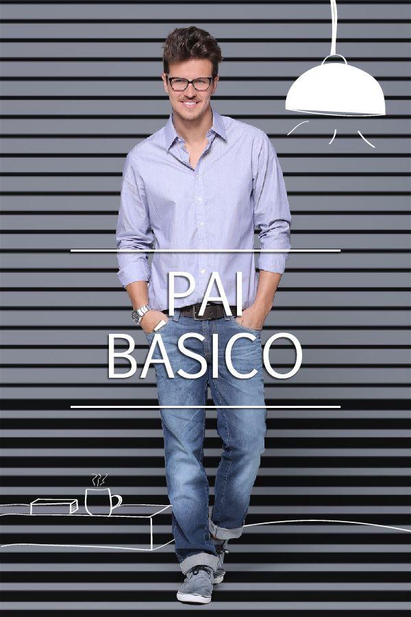 A gente adora um visual básico e o paizão merece muito andar supermoderno, ainda que tradicional. Todo pai básico curte jeans e camisa, dica boa de presente nesse 11 de Agosto! Calça masculina G2 justa recorte - Ref.: IF12; Camisa Masculina Manga Longa - Ref.: T786; Cinto Masculino Relevo - Ref.: T824.