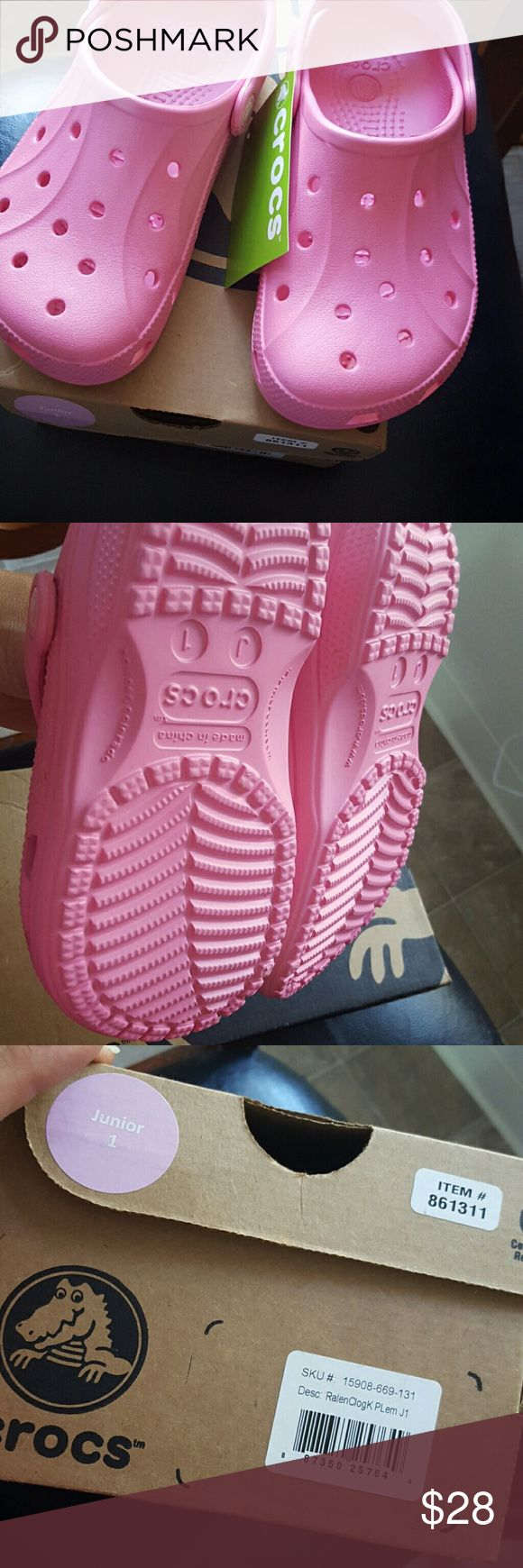 New Crocs kids clogs New with tag and box pink Crocs clogs size 1 CROCS Shoes Slippers