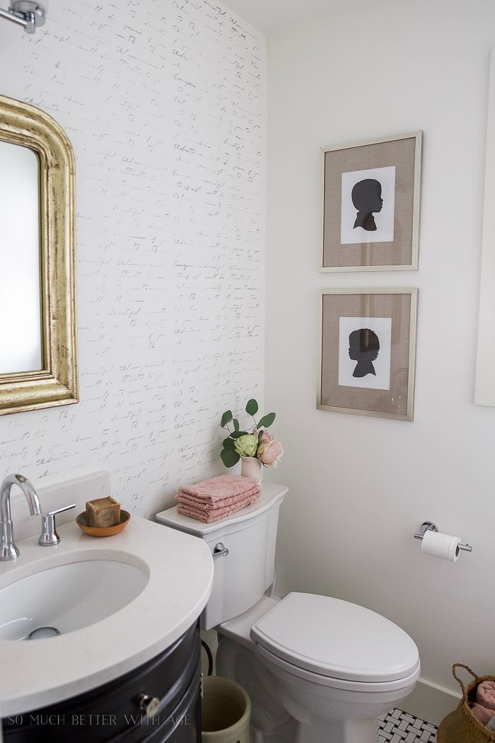 Black White French Powder Room Makeover Bathroom Makeoversbathroom Renovationsbathroom Ideasbathroom