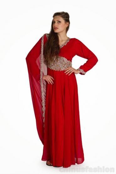 Rasha Red Chiffon Gown Style Kaftan
