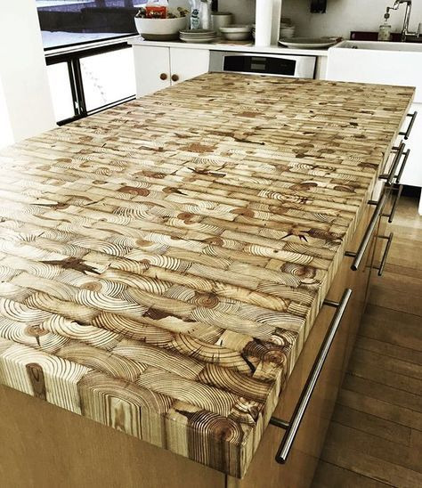 End grain kitchen island countertop made from reclaimed Detroit lumber…