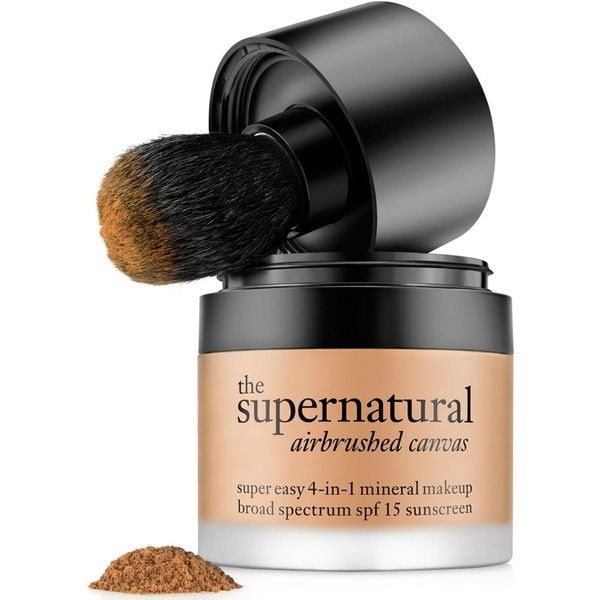 philosophy the supernatural airbrushed canvas foundation ($38) ❤ liked on Polyvore featuring beauty products, makeup, face makeup, foundation, light bronze, philosophy foundation, mineral foundation and spf foundation