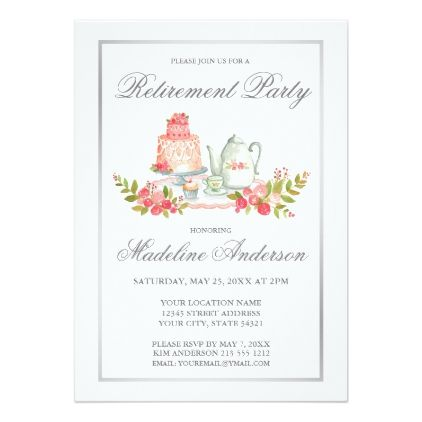 Retirement Party Silver Script Invitation - script gifts template templates diy customize personalize special
