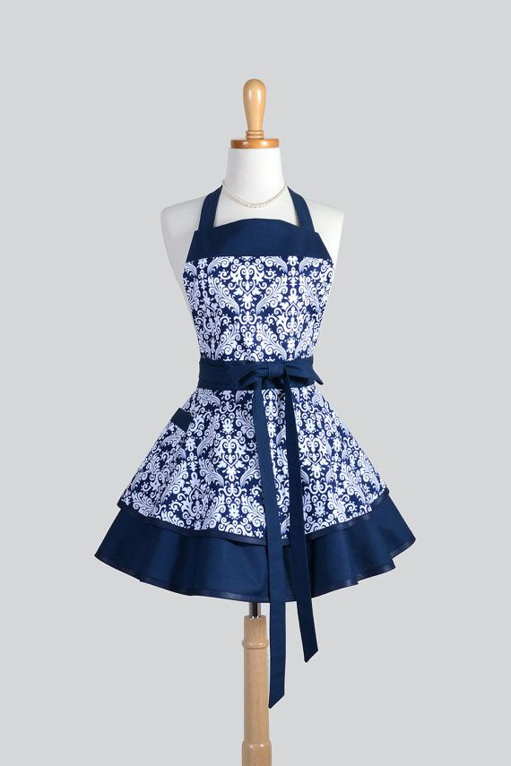 Ruffled Retro Apron - Navy Blue and White Damask Womens Cooking or Wedding Apron Gift for Her Ideal to Personalize or Monogram