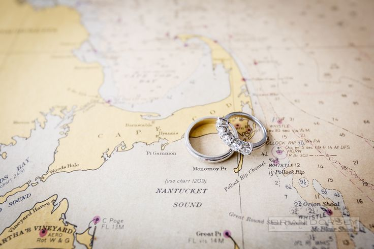 Wedding rings on a map.