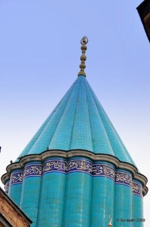 A tiled spire where Rumi is buried. Konya, Turkey