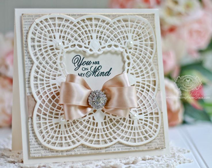 Framed Card Making Ideas by Becca Feeken using Spellbinders Bella Claire Border and Spellbinders Graceful Frame Maker Tool - see full supply list and links at www.amazingpapergrace.com/blog/?p=32283