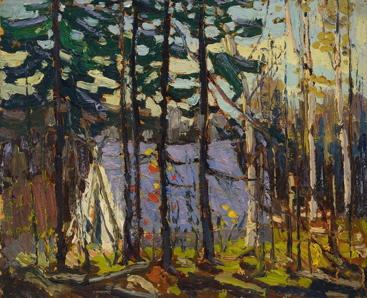 "Over the years, Thomson painted at least four images of his tent in Algonquin Park. ""Artist's Camp, Canoe Lake, Algonquin Park,"" 1915, Art Gallery of Ontario."