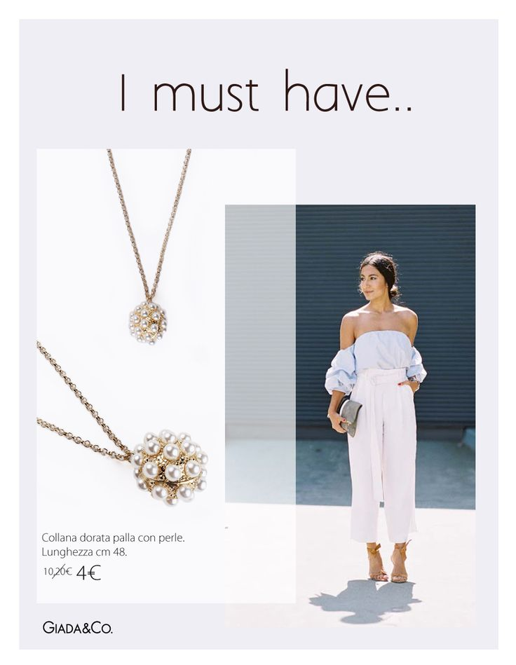 I MUST HAVE.. #offtheshoulderblouse #MUST #thebestoutfit #necklace #pearls #Giada&Co.#SALE http://www.giadaandco.com/collane/collana-dorata-palla-perle
