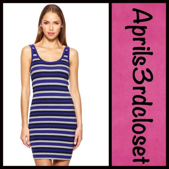 """FRENCH CONNECTION Striped Dress NEW WITH TAGS  RETAIL PRICE $98  French Connection 'Space Hopper' Striped Shift Tank Dress   * Stretch-to-fit fabric   * Pullover tank style   * Scoop neck and allover stripe pattern   * Fitted silhouette   * It measures about 32"""" long; Tag size 2 (XS)  Fabric: 95% Cotton & 5% Elastane/Spandex  Color: Deep Purple/Midnight Blue/Heather Grey Combo Item: 9135  No Trades ✅Fair Offers Considered*/Bundle Discounts✅  *Please use the 'offer' button to submit an offer…"""