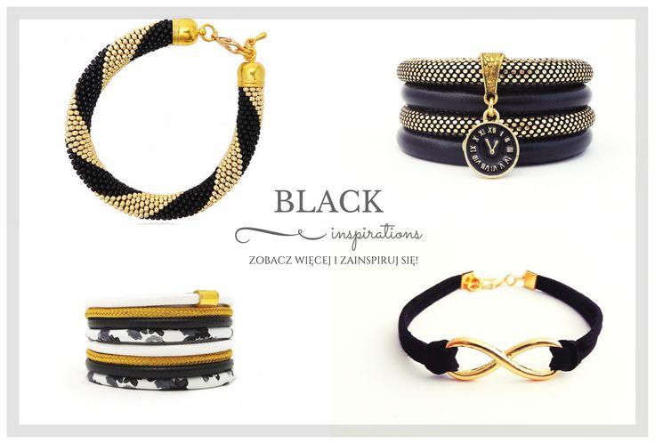 Black inspirations. Handmade bracelets in black and gold. Check more bracelets  KLIK ➡ http://bit.ly/2lQ9TQl