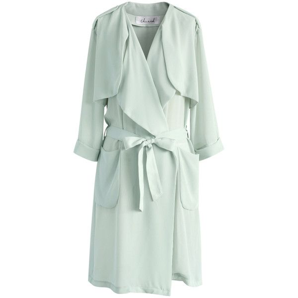 Chicwish Lissome Chiffon Waterfall Trench Coat in Light Mint (£43) ❤ liked on Polyvore featuring outerwear, coats, green, waterfall trench coat, tie belt, lightweight coat, green trench coat and lightweight trench coats