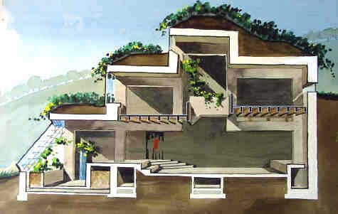 "Malcolm Wells, a 1950-60's era architect, proposed underground earth shelters. He quotes, ""After 10 years spent spreading corporate asphalt on America in the name of architecture, I woke up one day..."