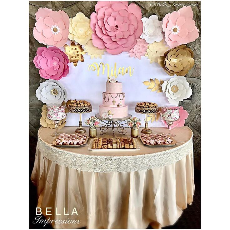 BELLA Impressions | IG @Bella_Impressions | Etsy Shop: https://www.etsy.com/shop/BellaImpressionsShop | Website: Bellasimpressions.com  Gold White & Pink Dessert Table Backdrop by IG @Bella_Impressions   Paper flower backdrop • floral backdrop • baptism • christening • wedding • shower • birthday   Available for rent. Orange County, Ca