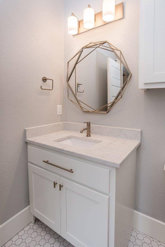 Powder Bath With White Custom Shaker Bathroom Cabinets Silestone