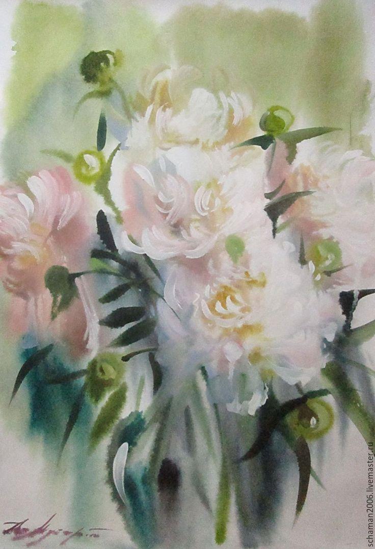 Купить Акварель, формат А3,Белые пионы - белый, акварельные пионы, белые пионы, акварель