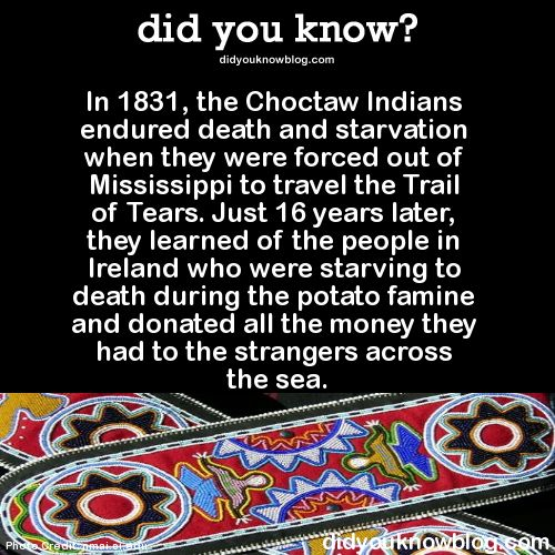 In 1831, the Choctaw Indians endured death and starvation when they were forced out of Mississippi to travel the Trail of Tears. Just 16 years later, they learned of the people in Ireland who were starving to death during the potato famine and donated all the money they had to the strangers across the sea.  Source