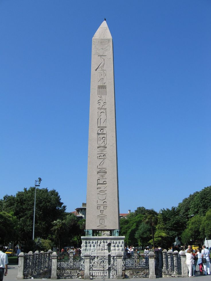 Obelisk   The Obelisk of Theodosius (Turkish: Dikilitaş) is the Ancient Egyptian obelisk of Pharaoh Tutmoses III re-erected in theHippodrome of Constantinople (known today as At Meydanı or Sultanahmet Meydanı, in the modern city of Istanbul, Turkey) by the Roman emperor Theodosius I in the 4th century AD.