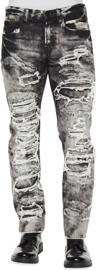PRPS Dalia Destroyed & Distressed Denim Jeans, Black/White