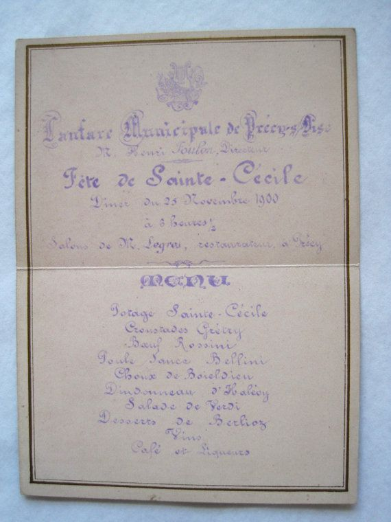 Best French Menus Antique  Vintage Images On