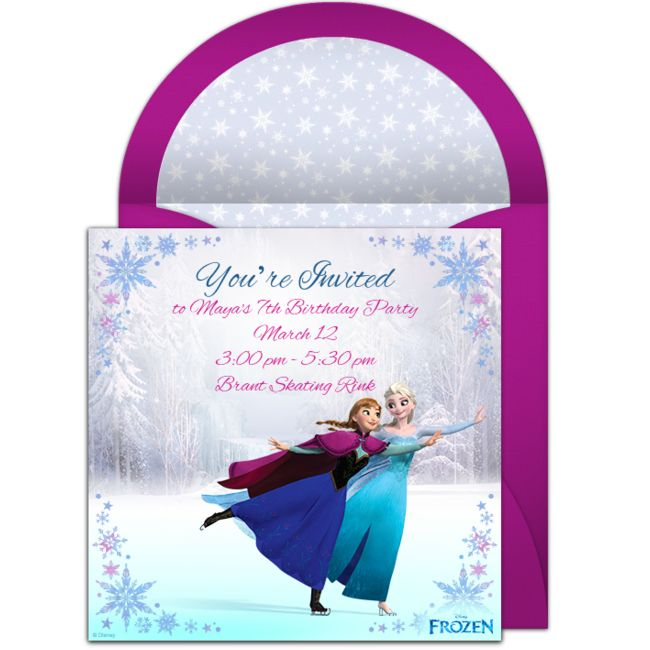 Customizable, free Frozen Ice Skating online invitations. Easy to personalize and send for a Frozen birthday party. #punchbowl