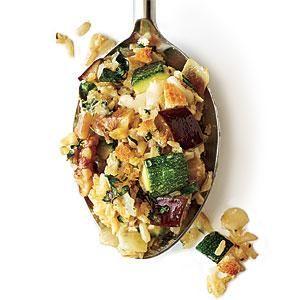 Cheesy Brown Rice Gratin with Zucchini and Eggplant   MyRecipes.com