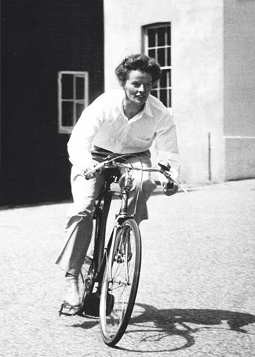 Katharine Hepburn riding her bike in Hartford, Connecticut, 1952
