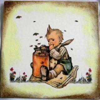 Albinele bâz bâz la copilul cu degetu-n borcanul cu miere - tablou pe pânză