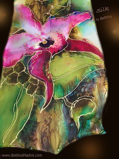 "Jungle Queen - handpainted original Silk ""Goddess Scarf""- by Bettina Star-Rose"