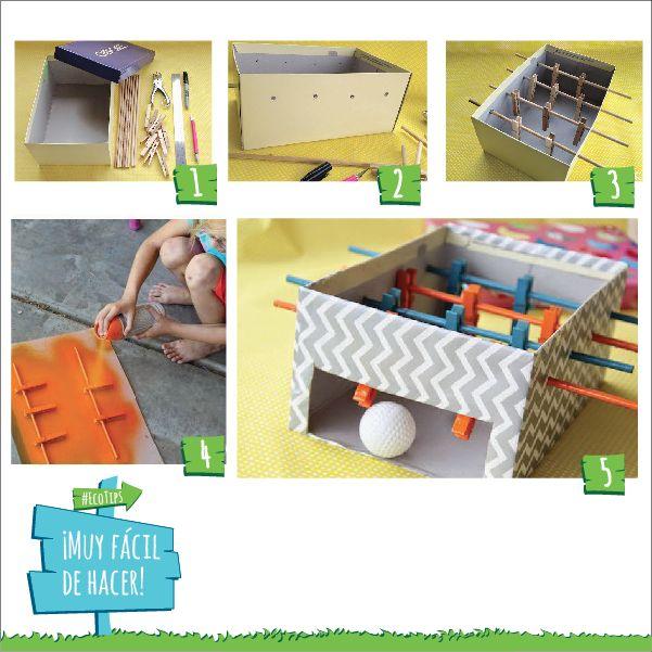 Tip #DIY: Hacé un metegol casero utilizando una caja de cartón. Adherite a #FacturaSinPapel en http://online.movistar.com.ar/?utm_source=pinterest&utm_medium=social_media&utm_content=ecotips&utm_campaign=contenidos y seguí ayudando al medioambiente.