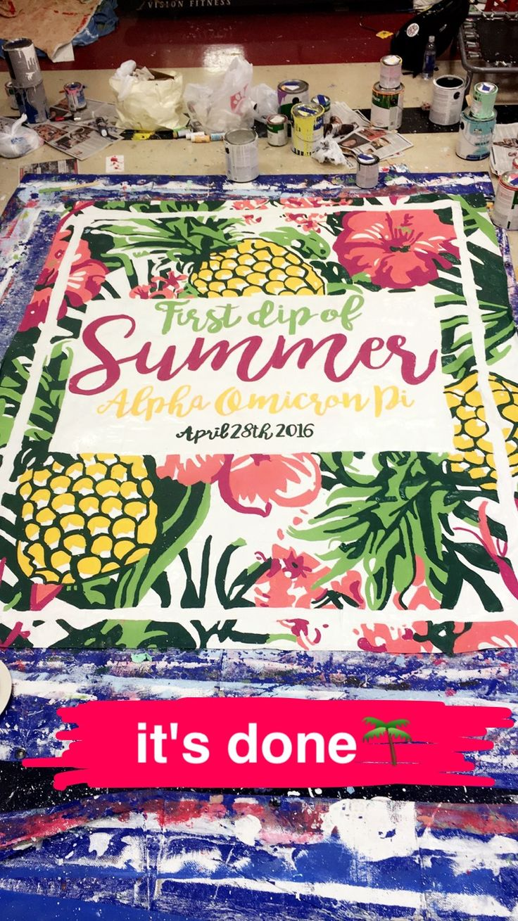 university of arkansas - alpha omicron pi (aoii) - sorority banner - summer, pineapple, floral banner - summer sorority - function/mixer banner
